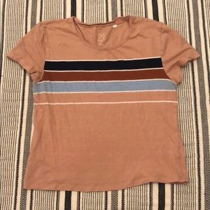 tan cropped t-shirt